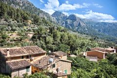 Aerial view of Fornalutx rooftops, Mallorca, Spain. Aerial view of Fornalutx outdoors in a mountain valley Royalty Free Stock Image