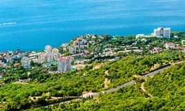 Aerial view of Foros, a town by the Black Sea in Crimea. Aerial view of Foros, a resort town by the Black Sea in Crimea royalty free stock image