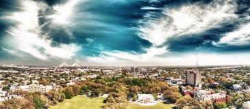 Aerial view of Forsyth Park in Savannah, Georgia royalty free stock image