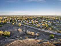 Aerial view of Fort Collins. Aerial view of residential area of Fort Collins, Colorado in fall colors, shot by a low flying drone from Cathy Fromme Prairie Royalty Free Stock Photography