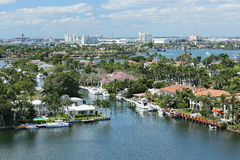 Aerial view of Fort Lauderdale's skyline, waterfront homes and the Intracoastal Waterways. Fort Lauderdale skyline and Intracoastal Waterways Royalty Free Stock Images