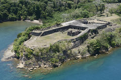 Aerial view of Fort Sherman at Toro Point, Panama Canal. Panama Stock Image