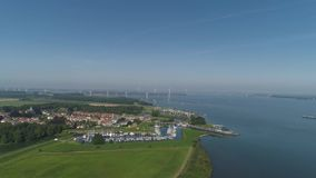 Aerial view of the fortified city of Willemstad, Moerdijk in the Province of Noord-Brabant, Netherlands. Star fortifications were stock video footage