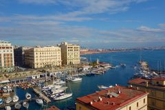 Naples, Italy - aerial view from the castle Egg fortress Castel dell`Ovo in the port of Naples in southern Italy royalty free stock photography