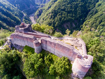 Aerial view of Fortress Poenari, Romania. Old fortress ruins of one of Vlad Tepes - Vlad the Impaler - strongholds in Transylvania Royalty Free Stock Photo