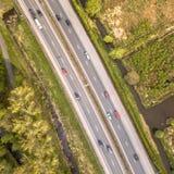 Aerial view of four lane motorway stock image