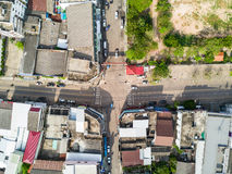 Aerial view of four-way intersection Stock Photography