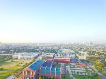 Aerial view Fourth Ward district west of downtown Houston, Texas. USA. Residential neighborhood, office buildings, restaurants, parking lots, church and royalty free stock image