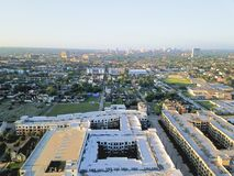 Aerial view Fourth Ward district west of downtown Houston, Texas stock photos