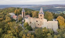 Aerial view of Frankenstein Castle in southern Hesse, Germany. Frankenstein Castle is a hilltop castle in the Odenwald overlooking the city of Darmstadt in stock images
