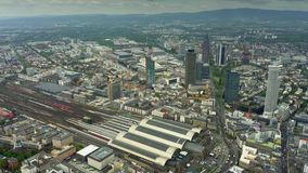 Aerial view of Frankfurt central railway station, Germany. Aerial view of Frankfurt central railway station stock video