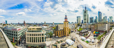 Aerial view of Frankfurt with Hauptwachen, Germany in a summer d Royalty Free Stock Photography