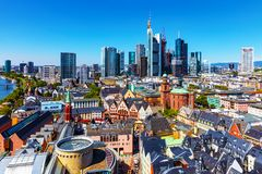 Aerial view of Frankfurt am Main, Germany royalty free stock photography