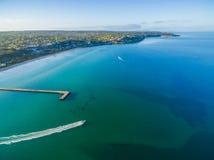 Aerial view of Frankston pier and speedboat Australia Royalty Free Stock Photos
