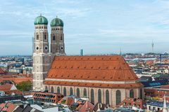 Aerial view on Frauenkirche near Marienplatz in Munich, Germany stock photos