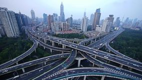 Heavy traffic on highway interchange,Aerial View of Shanghai Skyline. Aerial View of freeway busy city rush hour heavy traffic jam highway,shanghai Yan`an East stock video