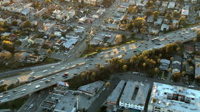 Aerial View of Freeway / Highway / Suburbs -Los Angeles - Clip 5. Aerial footage of Los Angeles freeways and suburbs.  Shot using a Sony EX3 camera stock footage