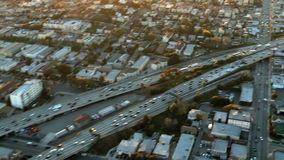 Aerial View of Freeway / Highway / Suburbs -Los Angeles - Clip 6. Aerial footage of Los Angeles freeways and suburbs.  Shot using a Sony EX3 camera stock video footage