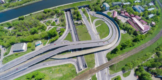 Aerial view of a freeway intersection. Adove Stock Images