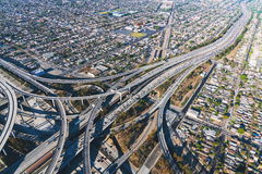 Aerial view of a freeway intersection in Los Angeles Stock Images