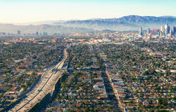 Aerial view of a freeway intersection in Los Angeles Royalty Free Stock Images