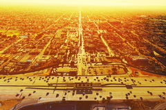 Aerial view of a freeway intersection in Los Angeles Stock Photography