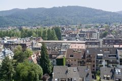 Aerial view of Freiburg im Breisgau in sunny ambiance. Aerial view of Freiburg im Breisgau, a city in Baden-Wuerttemberg (Germany) at summer time Royalty Free Stock Photography