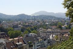 Aerial view of Freiburg im Breisgau in sunny ambiance Royalty Free Stock Image