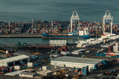 Aerial view of freight containers in Auckland harbor Royalty Free Stock Image
