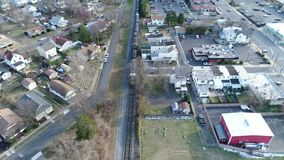 Aerial View of Freight Train stock video footage