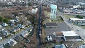 Aerial View of Freight Train stock footage