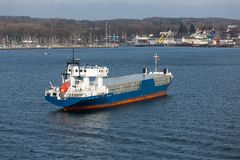 Aerial view of freighter in harbor Kiel, Germany Royalty Free Stock Photos