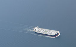 Aerial view of a freighter ship. Stock Images
