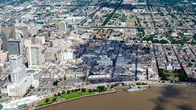 Aerial view of French Quarter and Downtown, New Orleans, Louisiana stock photography