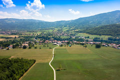 Aerial view of a French village in Haute Savoie - France Stock Image