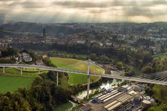 Aerial view of Fribourg, Switzerland Royalty Free Stock Photo