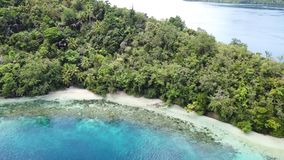 Aerial View of Fringing Coral Reef and Island in Raja Ampat. The scenic islands in Raja Ampat, are surrounded by healthy, shallow coral reefs. This remote stock video footage