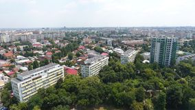 Aerial View From Drone Over Blocks And Green Trees Royalty Free Stock Images