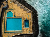 Aerial View From Swimming Pools Near A Beach. Drone Shot. Royalty Free Stock Images