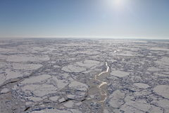 Aerial view of frozen Arctic Ocean Stock Images
