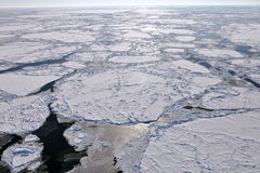 Aerial view of frozen Arctic Ocean stock photography