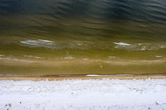 Aerial view of frozen beach in winter Stock Photos