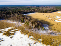 Aerial view of frozen forest lake in winter Royalty Free Stock Images