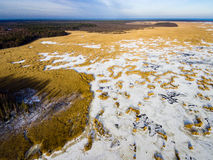Aerial view of frozen forest lake in winter Stock Photography