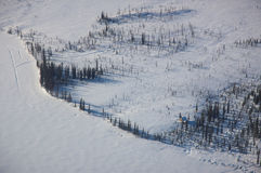 Aerial View of a Frozen Lake Royalty Free Stock Photos