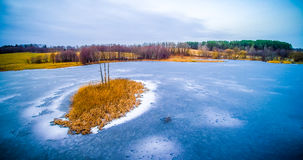 Aerial view of frozen lake Royalty Free Stock Photography