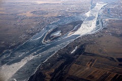 Aerial view at frozen river in winter time. Volga-river near Astrakhan, Russia Royalty Free Stock Photos