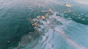 Aerial View Frozen Shapes of Ice Floating stock video
