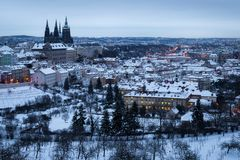 Aerial view of frozen winter city of Prague stock images