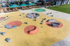 Aerial view of fun water playground in park summer Royalty Free Stock Photos